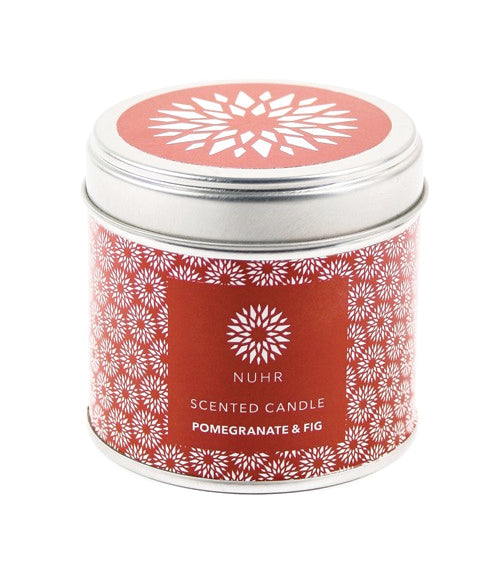 Silver Pomegranate and fig candle container with red label all the way round and sticker at top.
