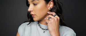 Modern and edgy sterling silver jewelry with black diamonds and champagne diamonds