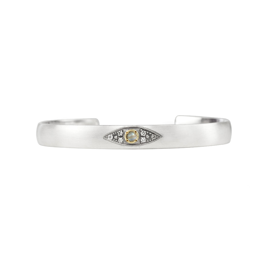Sterling silver stacking cuff with opal evil eye in 14K gold bezel with champagne diamonds