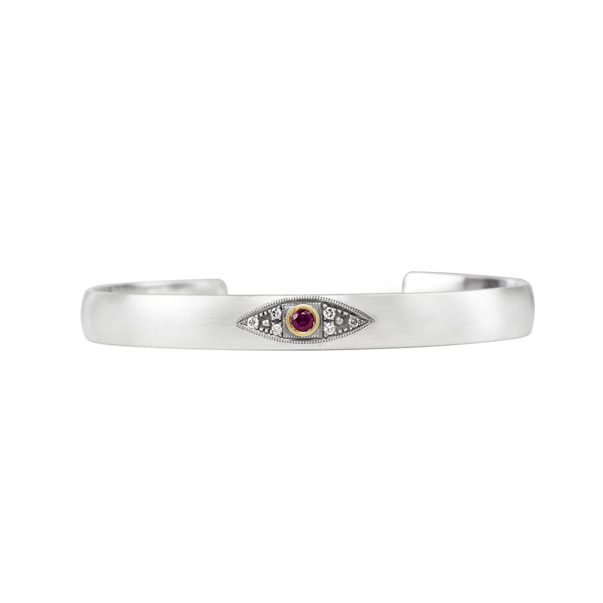 Sterling silver stacking cuff with ruby evil eye in 14k yellow gold bezel with champagne diamonds