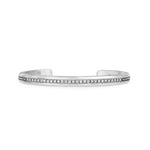 Vintage Sterling silver stacking bracelet with hand pavé white diamonds