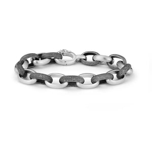 Alternating textured and plain sterling silver link bracelet with safety clasp closure