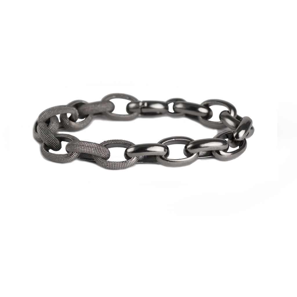 Textured and plain black rhodium silver link bracelet