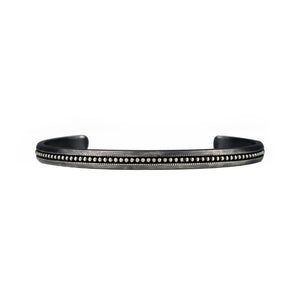 Black rhodium sterling silver stacking cuff bracelet with milgrain texture