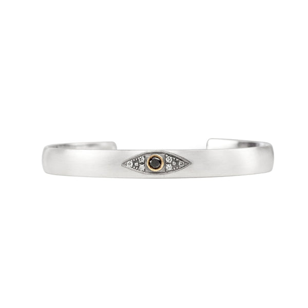 Evil Eye Black Diamond Cuff Standard- 55Mm / Yellow Gold Bracelets