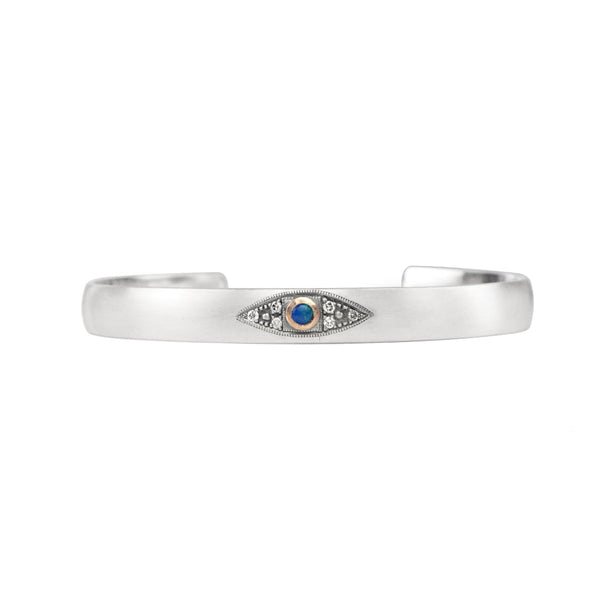 Sterling silver stacking cuff with Australian boulder opal evil eye in 14k rose gold with champagne diamond