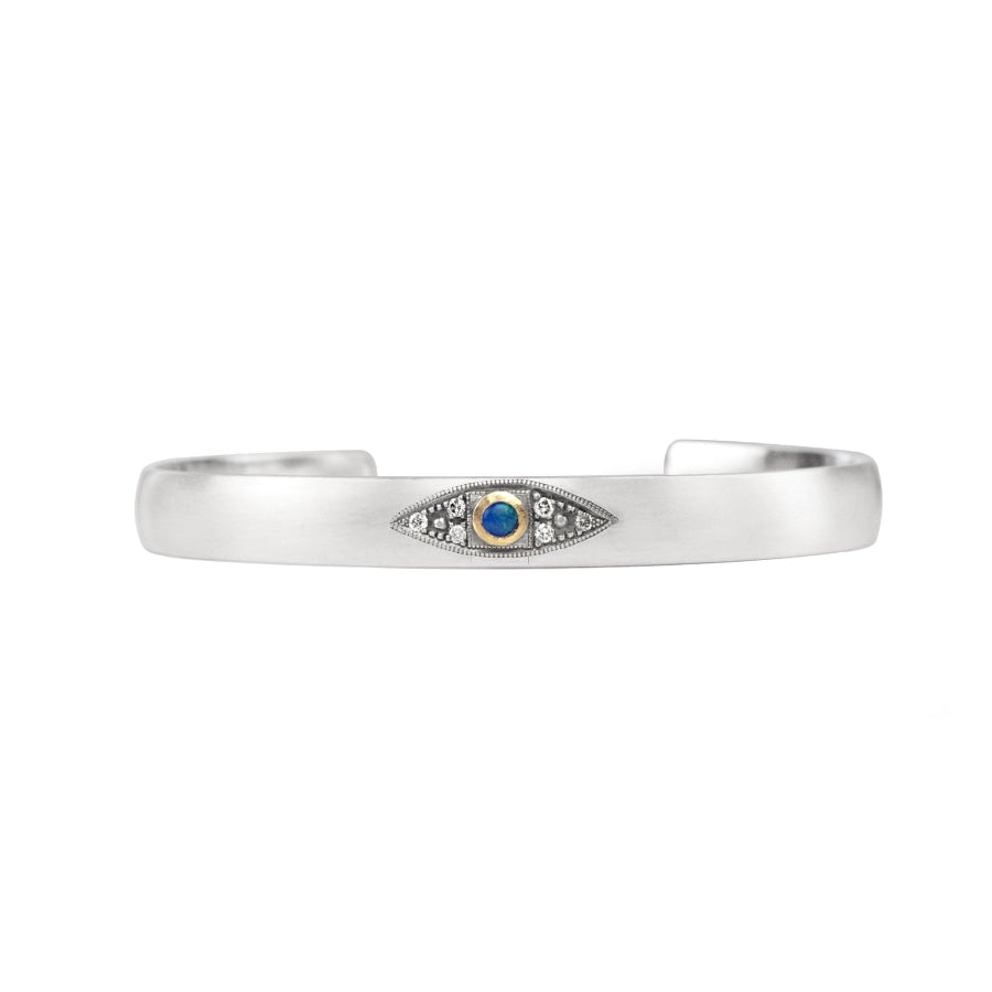 Sterling silver stacking cuff with Australian boulder opal evil eye in 14k yellow gold with champagne diamond