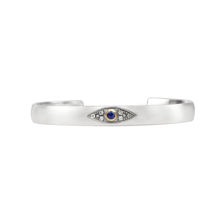 Evil Eye Sapphire Cuff Standard- 55Mm / Yellow Gold Bracelets