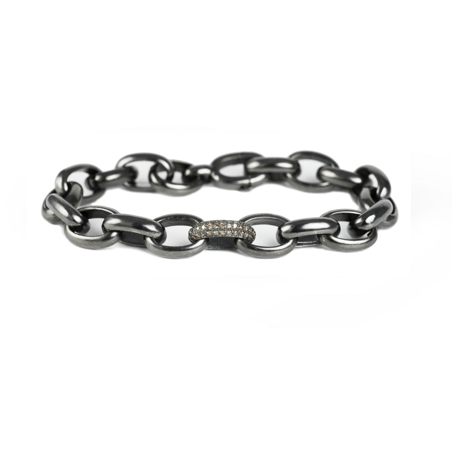 Black rhodium sterling silver link bracelet with champage diamonds