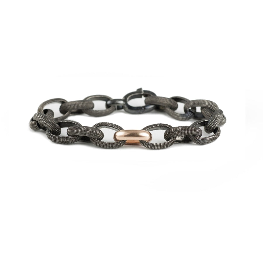 Black rhodium textured silver link bracelet with rose gold accent link
