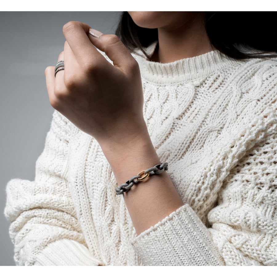 Nataly silver and gold link bracelet styled on model
