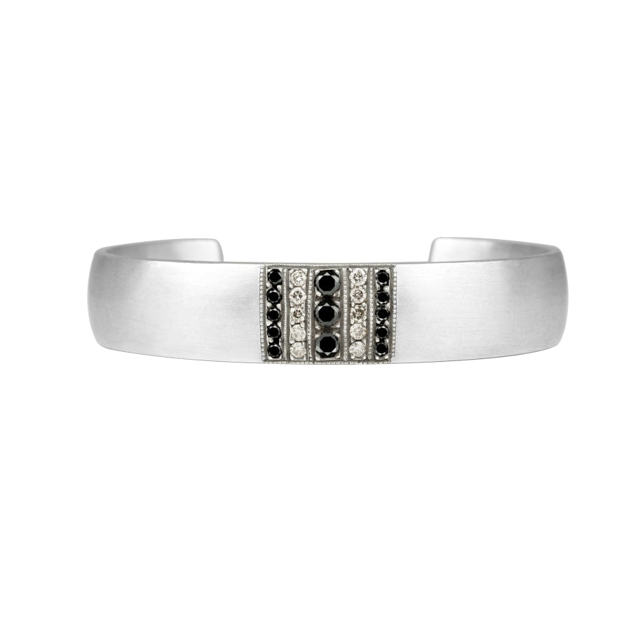 Sia cuff- Vintaged sterling silver cuff bracelet with black diamonds and champagne diamonds