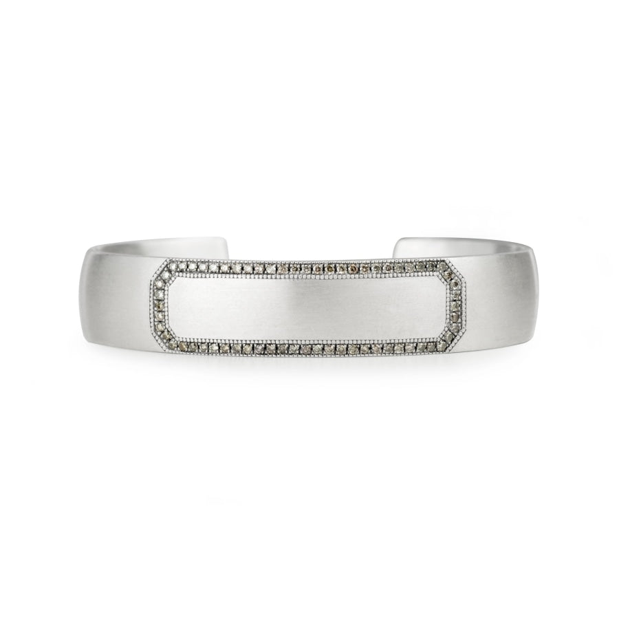 Engraveable sterling silver cuff bracelet for men and women with champagne diamond border