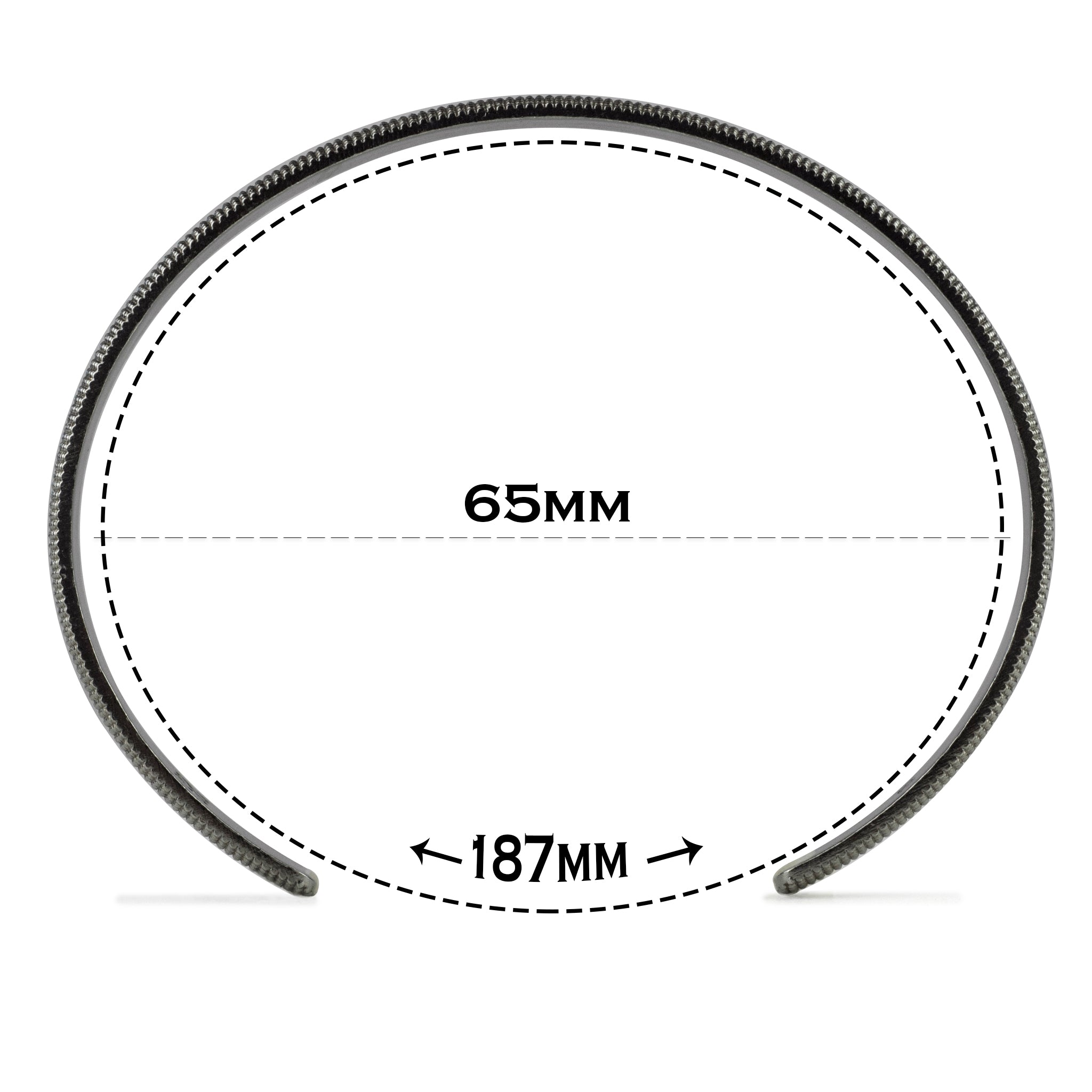 Large size cuff with text explaining the 187 millimeter circumference and illustrating size difference next to images of other sizes.