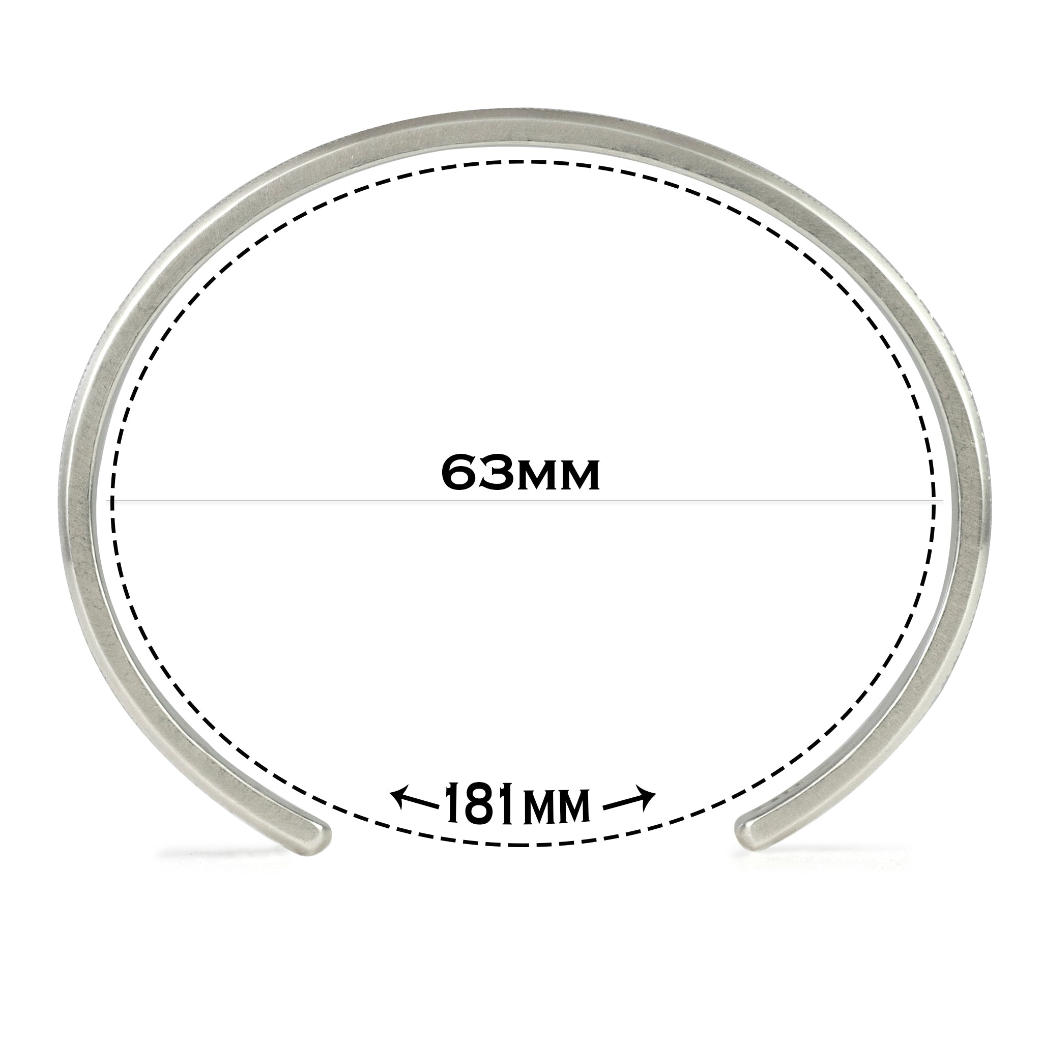 Medium size cuff with text explaining the 181 millimeter circumference and illustrating size difference next to images of other sizes.
