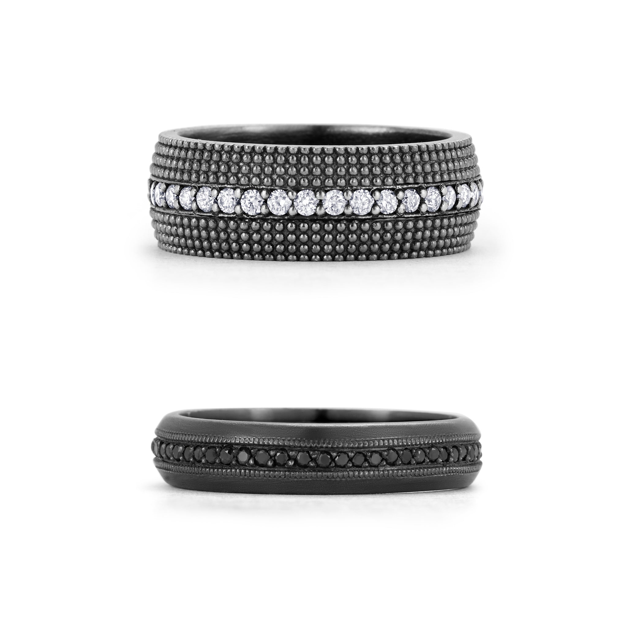 Graphic of two bands illustrating our darker black rhodium finish on a textured 7mm stacking band and satin brushed silver band