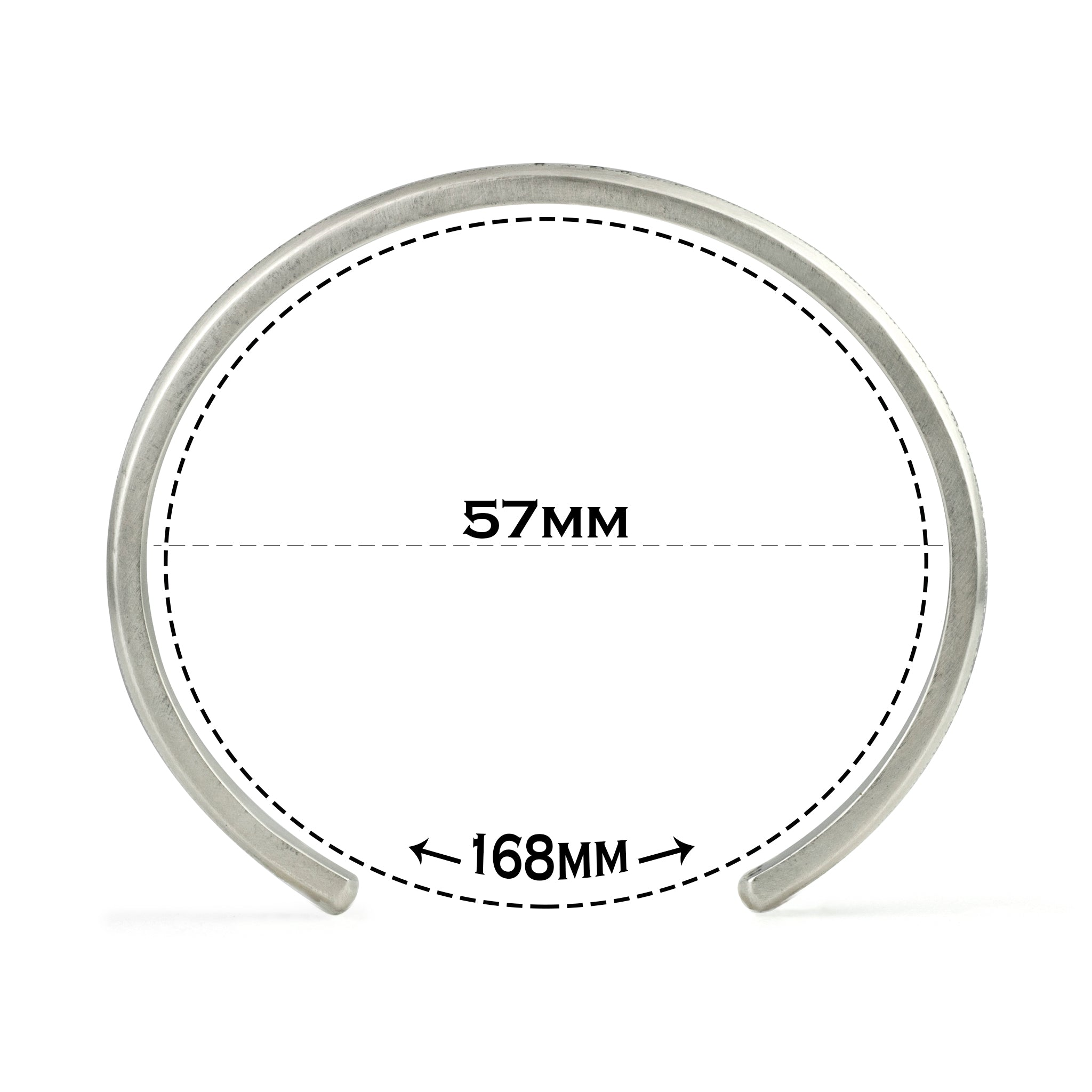 Small size cuff with text explaining the 168 millimeter circumference and illustrating size difference next to images of other sizes.