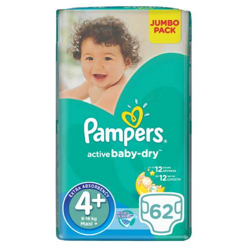 Mopani Pharmacy Baby Pampers Active Baby 4+ Maxi Nappies, 62's 4015400264774 109694