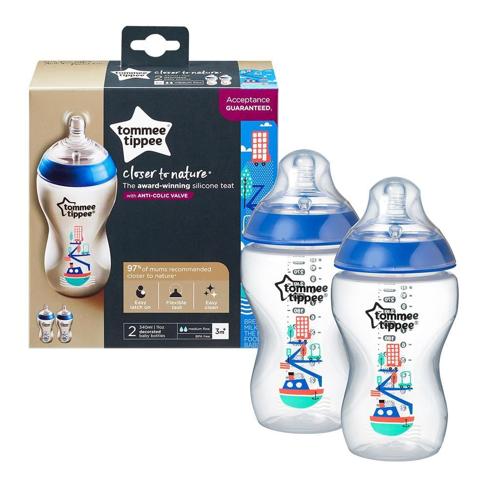 Tommee Tippee Baby Tommee Tippee Closer to Nature Boy Decorated Bottle, 340ml 5010415226211 114025