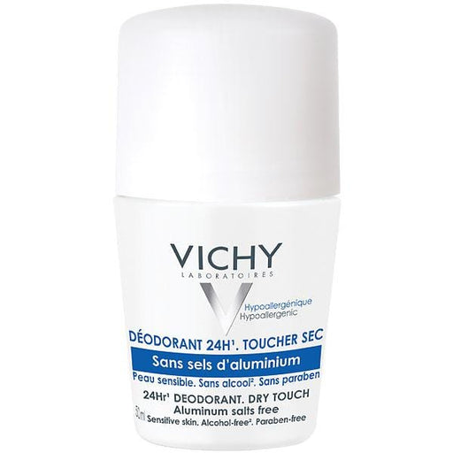 Vichy Deodorant Dry Touch 24hr Reactive Skin Alcohol-Free Roll-on, 50ml