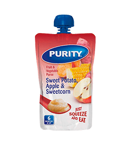 Purity Fruit and Vegetable Puree Sweet Potato, Apple and Sweetcorn, 110ml