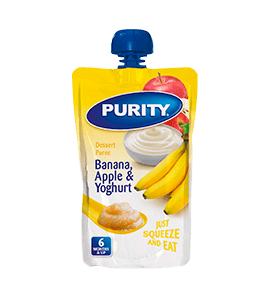 Purity Dessert Puree Banana Apple and Yoghurt, 110ml