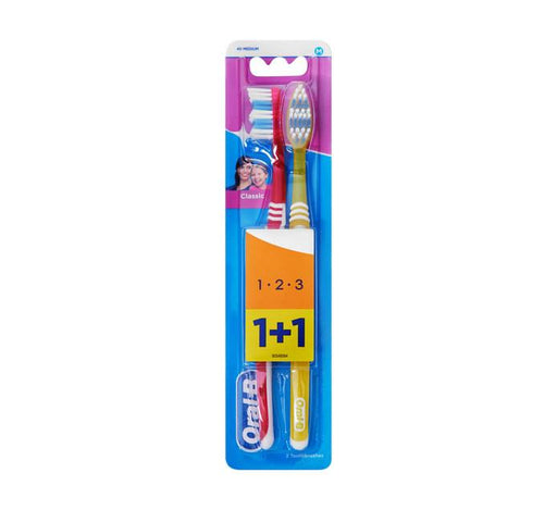 Oral-B Toiletries Oral B Toothbrush 3 Effect Classic 40 Medium, Bundle Pack 1+1 3014260023041 188275