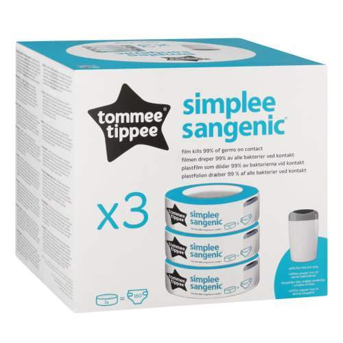 Tommee Tippee Sangenic Tec Nappy Bin Refill Cassettes, 3's