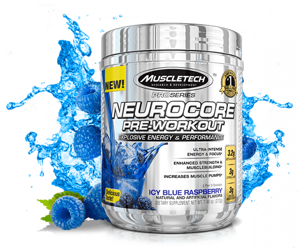 MuscleTech Neurocore Pre-Workout Icy Blue, 50 Servings