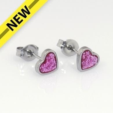 Studex Clothing Studex Pink Glitter Heart Sterling Silver, 6mm 48675835657 210072