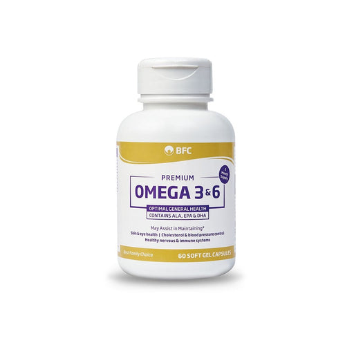 Mopani Pharmacy Vitamins BFC Premium Omega 3 and 6 Caps, 60's        6009685330840 232168