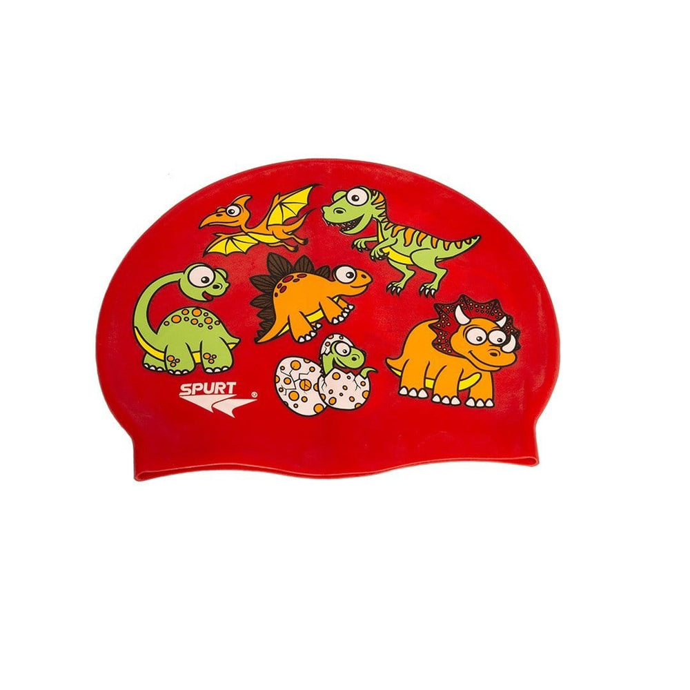 Spurt Kids Baby Spurt Kids Swim Cap Scattered Dinosaurs, Red 2400002368463 236846