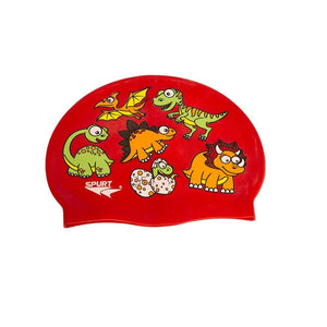 Load image into Gallery viewer, Spurt Kids Baby Spurt Kids Swim Cap Scattered Dinosaurs, Red 2400002368463 236846
