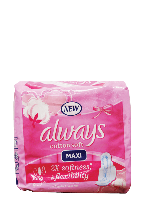 Always Cotton Soft Maxi Pads, 9's