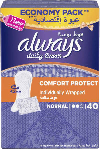 Always Toiletries Always Daily Liners Comfort Protect Normal, 40's 8001090542250 222386