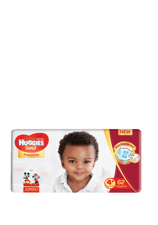 Huggies Gold Nappies Size 4+, 62's