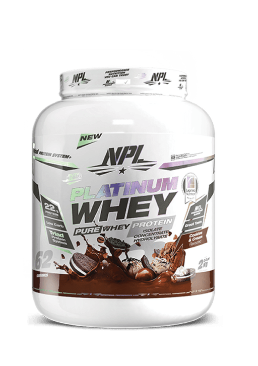 NPL Sports Nutrition Cookies and Cream NPL Platinum Whey Protein, 2kg - Various Flavours 225013