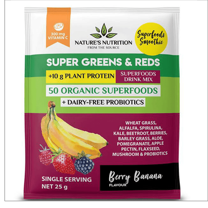 Mopani Pharmacy Health Foods Nature's Nutrition Super Greens & Reds Berry Banana, 25g 606110298131 225656