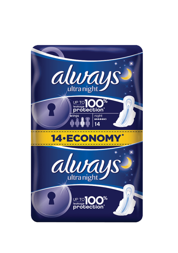 Always Ultra Night Sanitary Pads, 14's