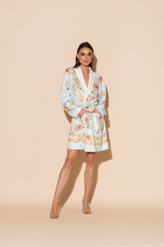 Blue Butterflies Short Robe