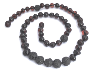 Lava Cherry Essential Oil Diffusing Amber Necklace - 18""