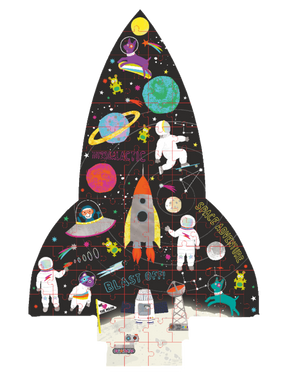 80 Piece Jigsaw Puzzle with Shaped Box - Space Rocket