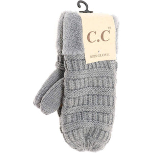 CC Beanie Kids Solid Fuzzy Lined Mittens Light Melange Grey