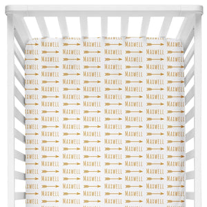 Sugar + Maple Crib Sheet - Arrow