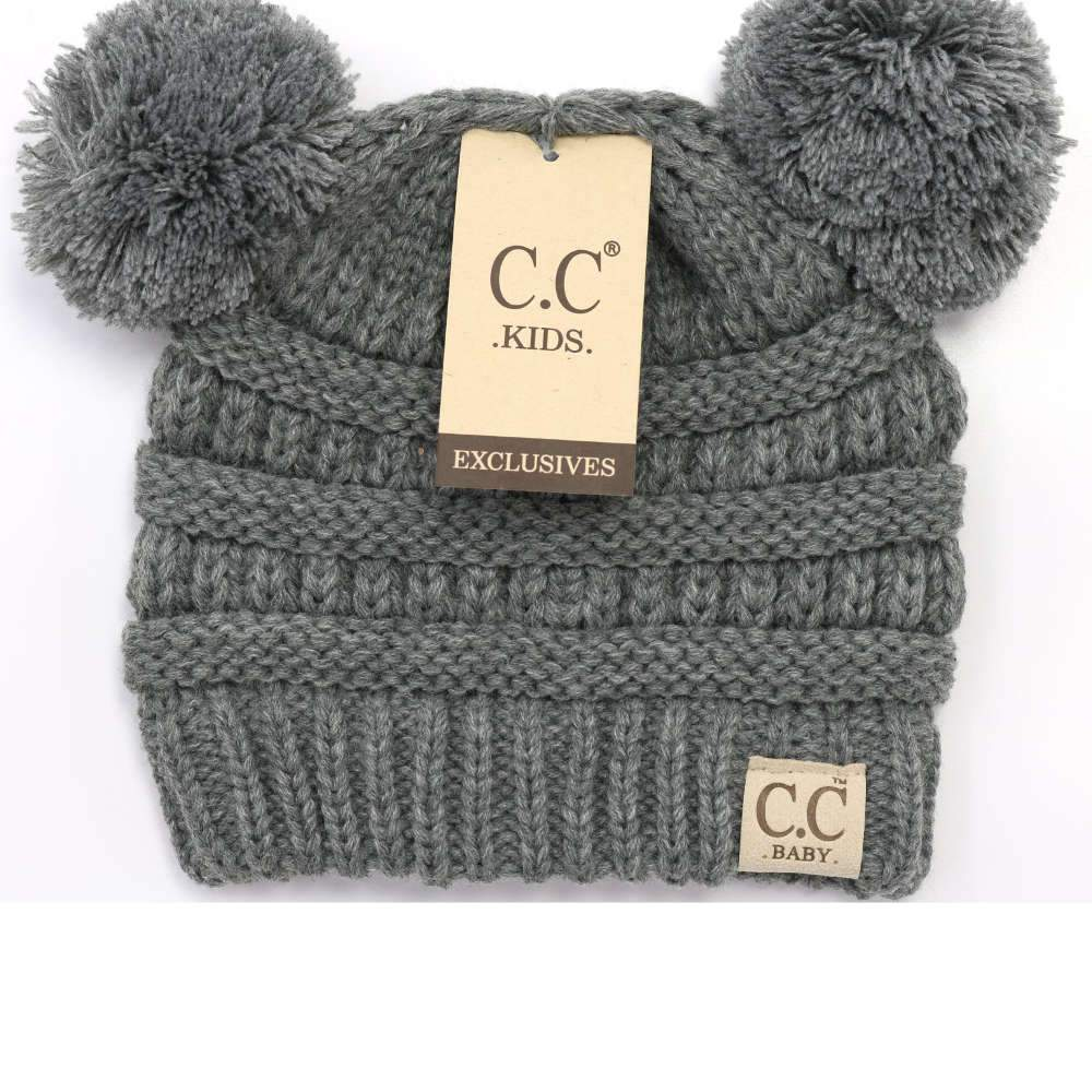 CC Beanie Baby Solid Double Pom Beanie Light Grey