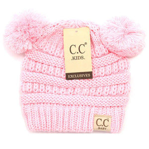 CC Beanie Baby Solid Double Pom Beanie Pale Pink