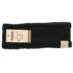 CC Beanie Kids Solid Cable Knit Head Wrap Black