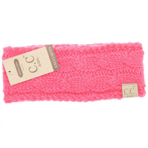 CC Beanie Kids Solid Cable Knit Head Wrap Candy Pink