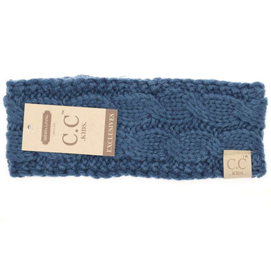 CC Beanie Kids Solid Cable Knit Head Wrap Dark Denim