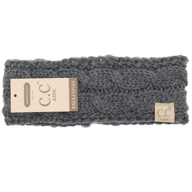 CC Beanie Kids Solid Cable Knit Head Wrap Dark Grey